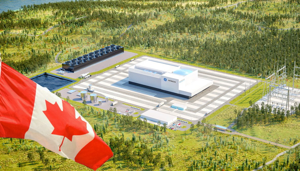 Rendering of GE Hitachi plant with Canadian flag
