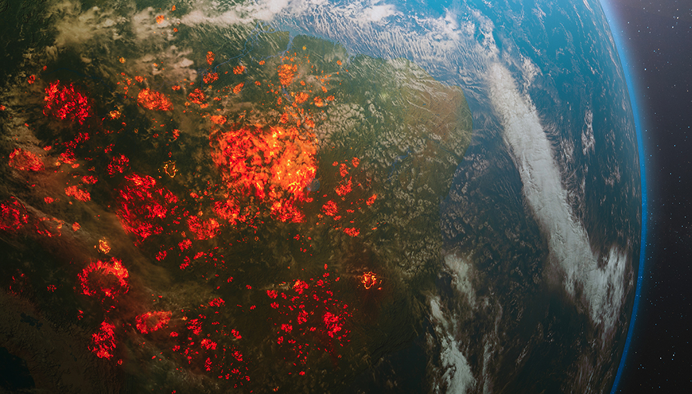 Half of planet Earth on fire