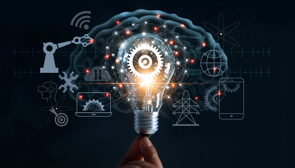 Lightbulb and tech graphic
