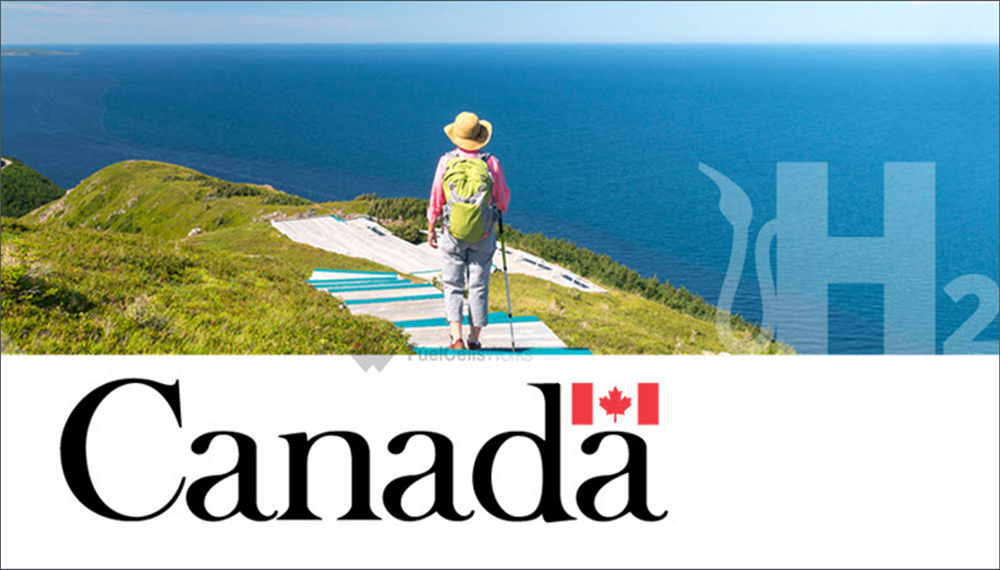 Woman hiking with Government of Canada logo inset