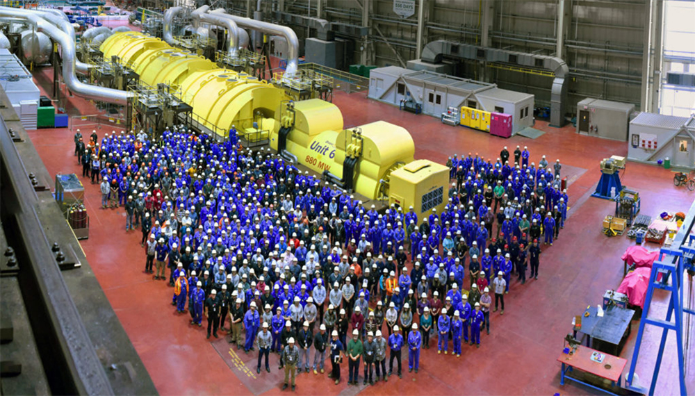 Group of Bruce Power employees in turbine hall