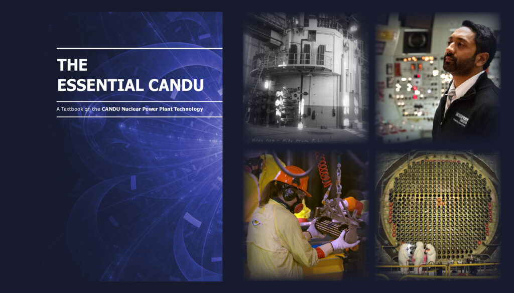 The Essential CANDU textbook cover with shadowy images behind